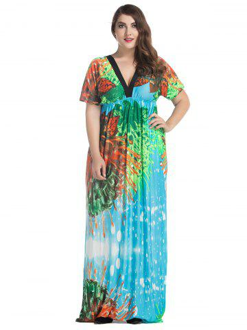 Chic Plus Size Batwing Sleeve Long Bohemian Dress