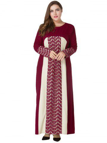 Plus Size Lace Panel Maxi Long Sleeve Dress - Wine Red - 5xl