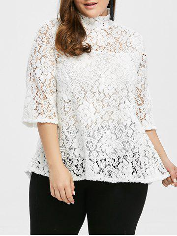 Fashion Plus Size Sheer Hollow Out Lace Blouse WHITE 2XL