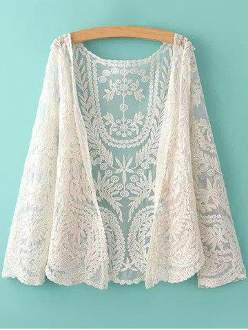New See-Through Leaves Pattern Lace Long Sleeve Blouse OFF-WHITE ONE SIZE(FIT SIZE XS TO M)
