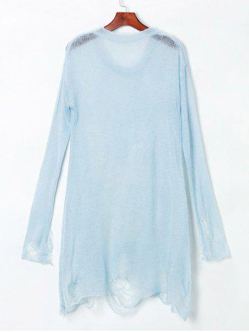 Trendy Open Knit Reindeer Ripped Sweater - ONE SIZE(FIT SIZE XS TO M) LIGHT BLUE Mobile