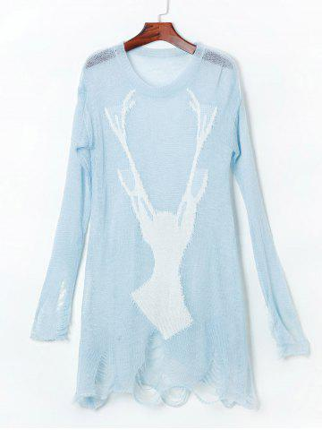 Fancy Open Knit Reindeer Ripped Sweater - ONE SIZE(FIT SIZE XS TO M) LIGHT BLUE Mobile