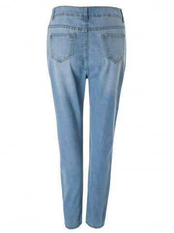 Outfits Fashionable Bleach Wash Wrapped Jeans For Women - L DEEP BLUE Mobile