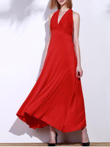 Backless Party Formal Halter Maxi Prom Evening Dress - Red - M