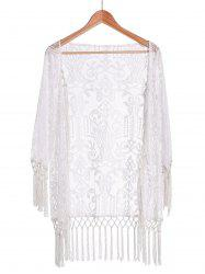 Collarless Long Sleeve Tassels Spliced Lace White Sunscreen Blouse