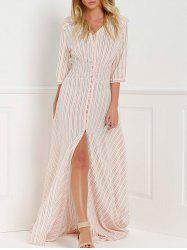 V-Neck Stripe Slit Maxi Shirt Dress