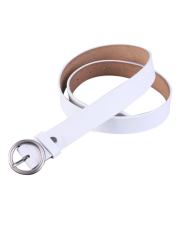 All Match Round Pin Buckle Faux Leather Belt - WHITE