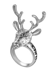 Christmas Deer Letter Ring