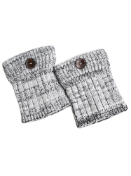 Warm Buttons Yoga Knit Boot Cuffs - WHITE