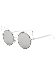 Cool Hollow Out Leg Cat Eye Mirror Sunglasses - SILVER