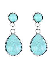 Bohemian Artificial Turquoise Water Drop Earrings -
