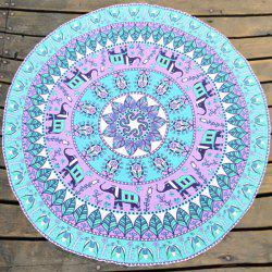 Bohemia Style Elephant Leaf Print Round Beach Throw - TIFFANY BLUE