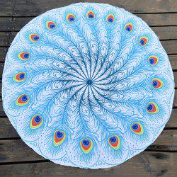 Peacock Feather Fan Round Beach Throw - BLUE