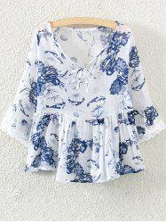 Lace Insert Skirted Floral Blouse -