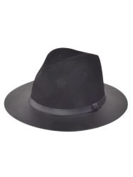 Winter Larger Brimmed Fedora Jazz Hat - BLACK