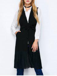 Chiffon Panel Longline Vest with Pockets -