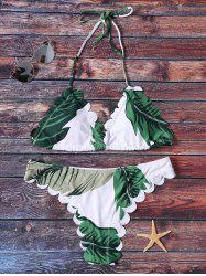 Leaves Print Halter Scalloped Bikini Set