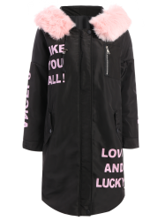 Fuzzy Letter Hooded Padded Coat