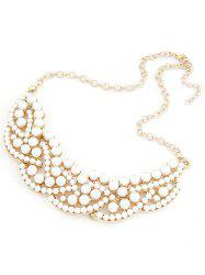 Chic Faux Pearl Hollow Out Statement Necklace -