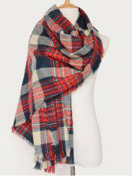 Plaid Pattern Oblong Shawl Scarf with Fringed
