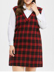 Plus Size Long Sleeve Checked A Line Dress