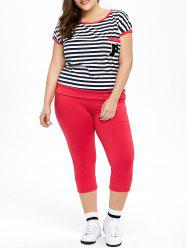Plus Size Striped Tee and Capri Pants