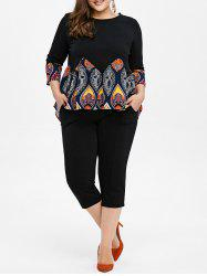 Plus Size Printed High Low Swing Top With Pants