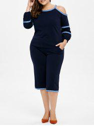 Plus Size Cold Shoulder Top and Capri Pants