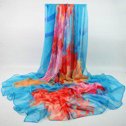 Morning Glory Chiffon Wrap Scarf - Bleu