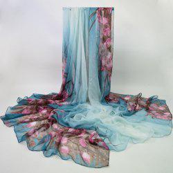 Valentine Roses Printed Chiffon Wrap Scarf - LIGHT BLUE