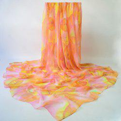 Vivid Maple Leaf Printed Chiffon Scarf - ORANGE