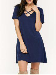 Loose Criss Cross Swing T-Shirt Casual Dress With Sleeves - Bleu Foncé