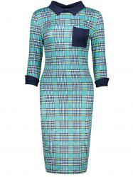 Retro Flat Collar Gingham Sheath Dress