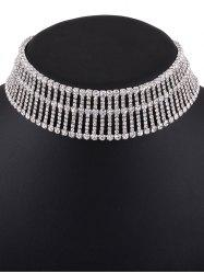 Rhinestone Embellished Wide Choker Necklace