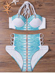 Strappy Cut Out Halter Neck Bikini Swimsuit