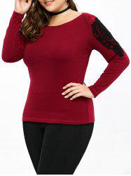Plus Size Lace Panel Long Sleeve Tee