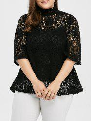Plus Size Sheer Hollow Out Lace Blouse