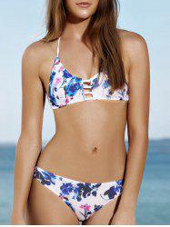 Halter Flower Print Hollow Out Cute Bikini Bathing Suit