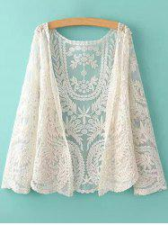 See-Through Leaves Pattern Lace Long Sleeve Blouse - OFF-WHITE