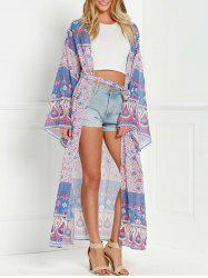 Collarless Wide Sleeve Printed Long Kimono Blouse -