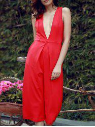 Wide Leg Plunging Neck Sleeveless Jumpsuit