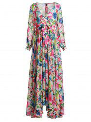 Plunging Neck Long Sleeve Tropical Maxi Dress -