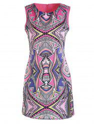 Jewel Neck Colorful Geometric Pattern Sleeveless Dress