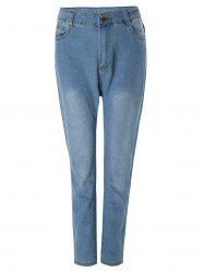 Fashionable Bleach Wash Wrapped Jeans For Women
