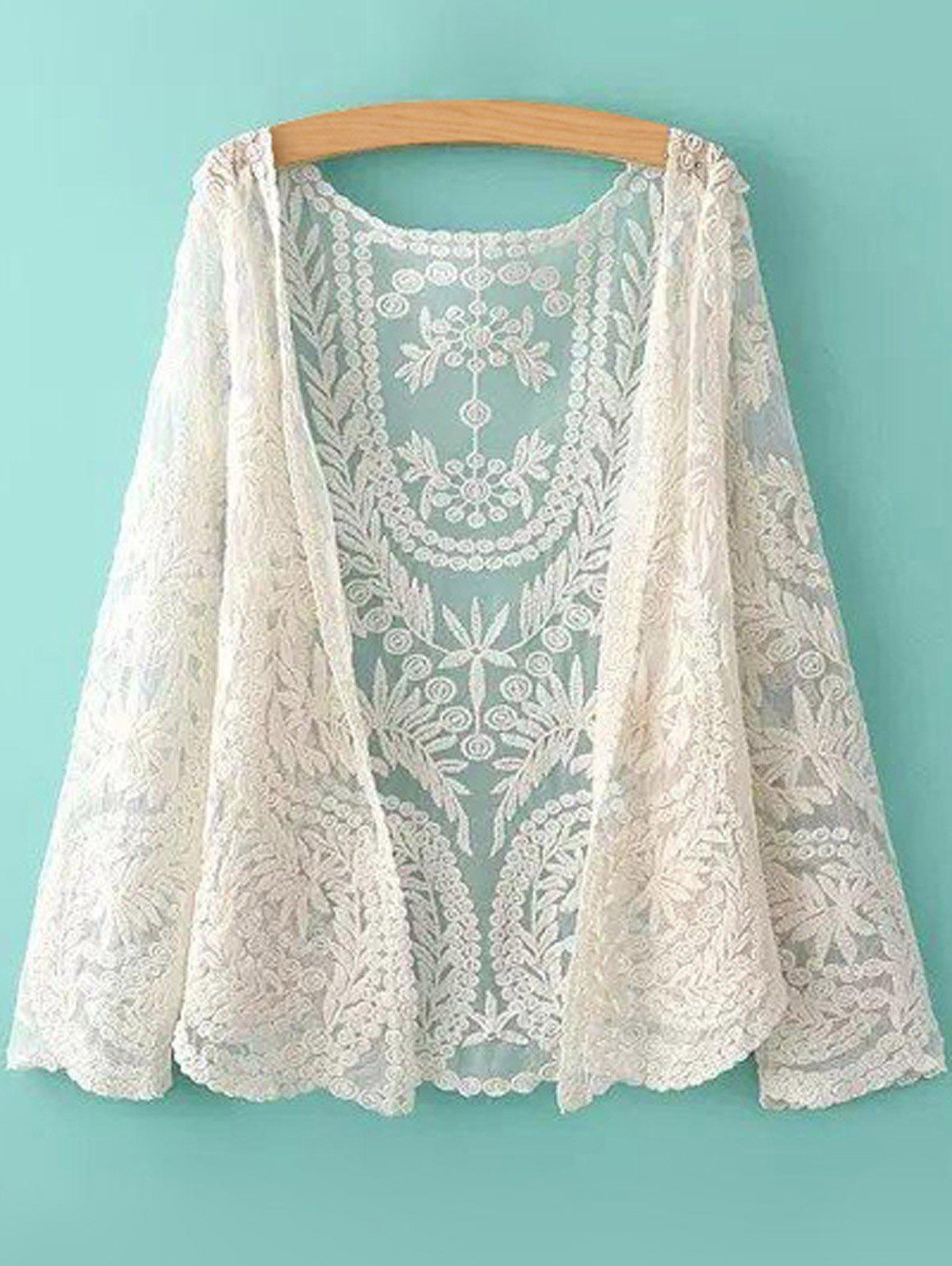 New See-Through Leaves Pattern Lace Long Sleeve Blouse
