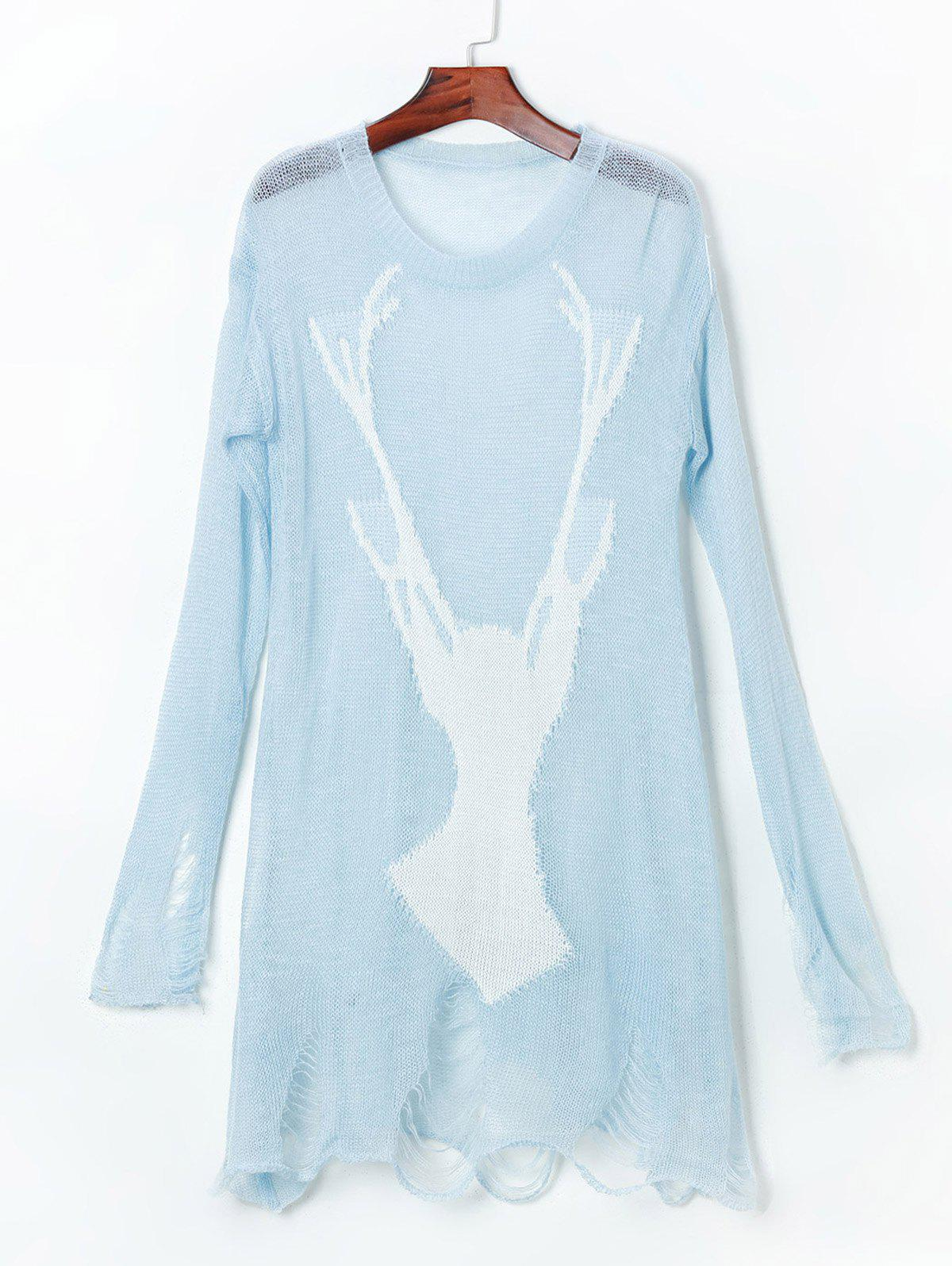 Open Knit Reindeer Ripped SweaterWOMEN<br><br>Size: ONE SIZE(FIT SIZE XS TO M); Color: LIGHT BLUE; Type: Pullovers; Material: Acrylic; Style: Fashion; Weight: 0.1900kg; Package Contents: 1 x Sweater;