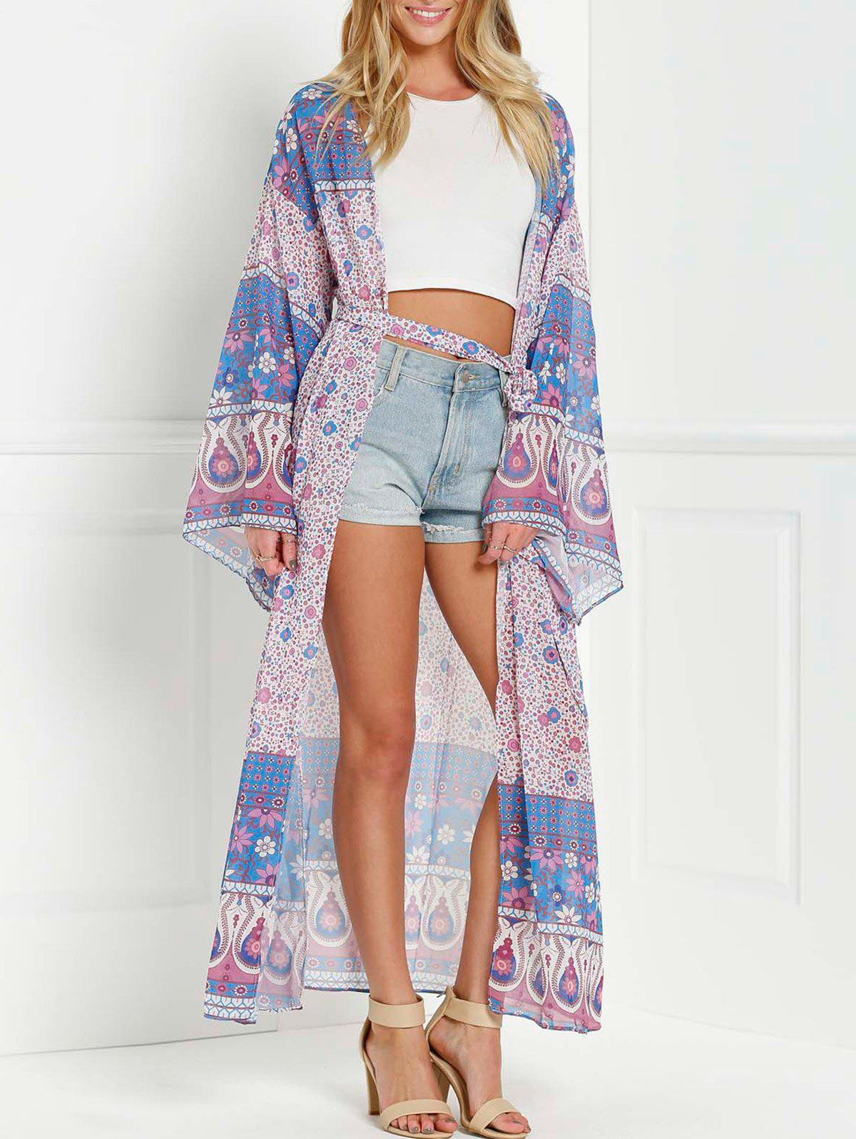 Shop Collarless Wide Sleeve Printed Long Kimono Blouse