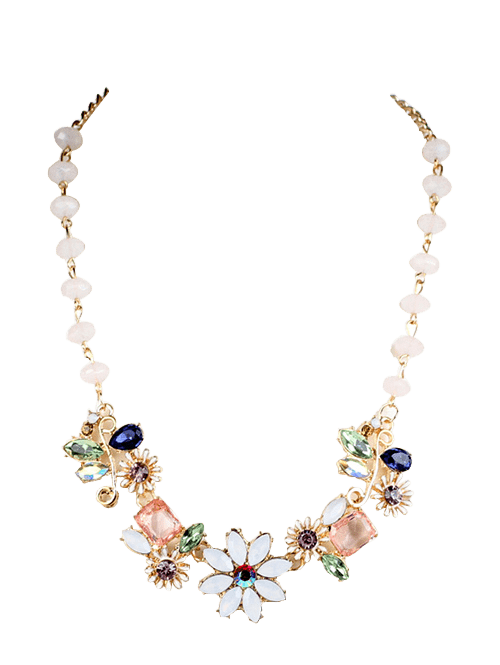 Faux Crystal Flower NecklaceJEWELRY<br><br>Color: GOLDEN; Item Type: Pendant Necklace; Gender: For Women; Metal Type: Alloy; Style: Trendy; Shape/Pattern: Floral; Length: 45cm; Weight: 0.0600kg; Package Contents: 1 x Necklace;