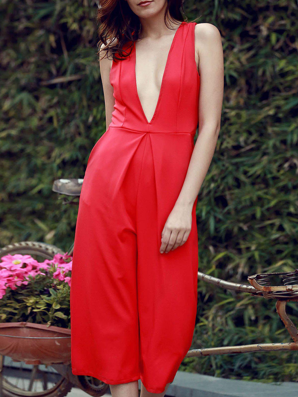 Outfits Wide Leg Plunging Neck Sleeveless Jumpsuit