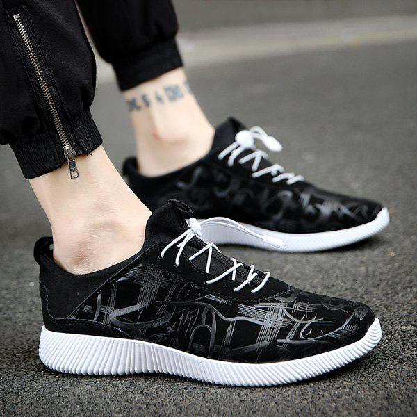 Cheap Line Printed Stretch Fabric Athletic Shoes
